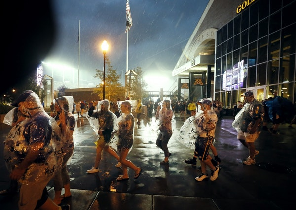 Vikings fans were evacuated in the second quarter from TCF Bank Stadium due to lighting and heavy rains. The Minnesota Vikings hosted the Oakland Raid