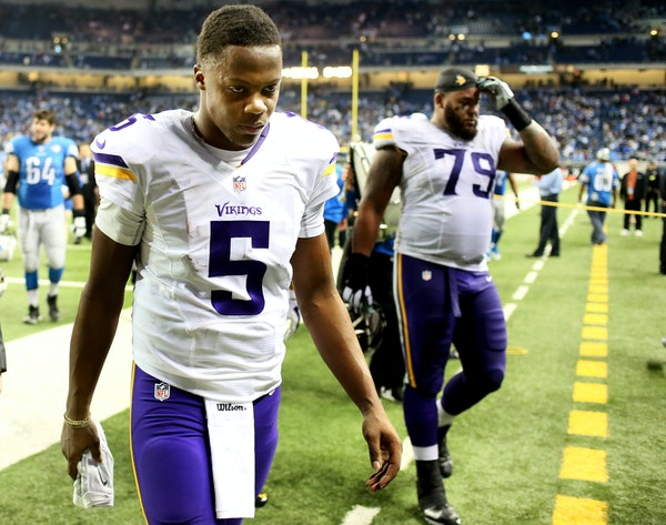 Minnesota Vikings quarterback Teddy Bridgewater (5) walked off the field after his team loss to Detroit 16-14 at Ford Field last December.