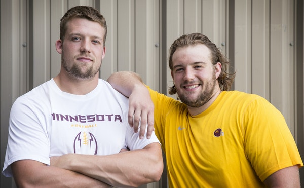 Brothers Mitch, left, and Matt Leidner are one of the four pairs of brothers on the Gophers football roster this season, with a set of twins committed