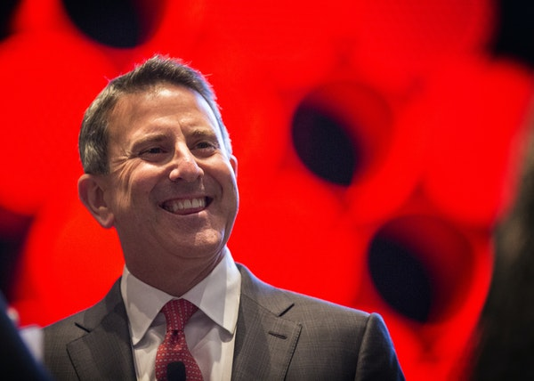 Brian Cornell, the CEO of Target, mingles before speaking at Target's annual Marketing Partner Summit at the Minneapolis Convention Center on Aug. 1