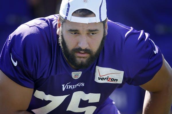 Vikings offensive lineman Matt Kalil during Friday's morning practice.
