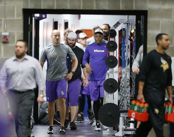 Quarterback Teddy Bridgewater, right, was the among Vikings players working out at Winter Park in April.
