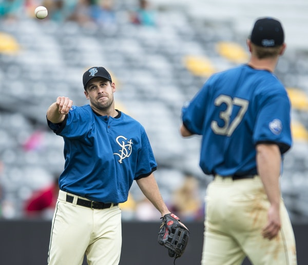 Nate Hanson played third base and batted sixth in his second game for the St. Paul Saints on Wednesday afternoon at CHS Field. The Saints have nine ga