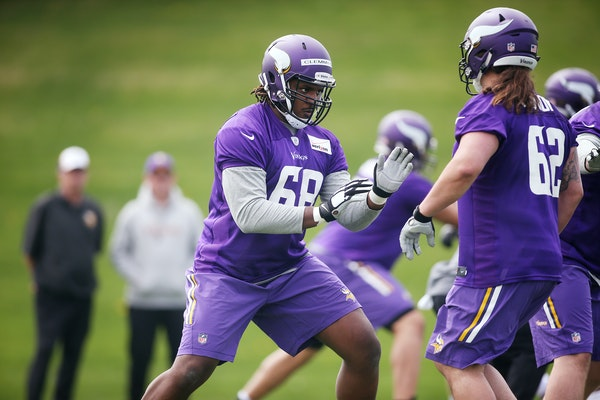 Offensive tackle T.J. Clemmings, shown during rookie minicamp in May, will be counted on to fill the void of injured teammate Phil Loadholt.