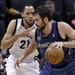 Tayshaun Prince (21), then with the Memphis Grizzlies, guarded the Wolves' Kevin Love in 2013. Prince, 35, agreed to a one-year deal that will reunite