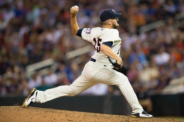 Minnesota Twins relief pitcher Glen Perkins (15) threw a pitch against Cleveland in the ninth inning Saturday. ] Aaron Lavinsky � aaron.lavinsky@sta