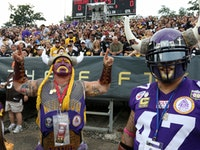 Vikings super fans Sid Davey and David Garza showed up in Canton to support the Vikings during their 1st preseason game of the season.