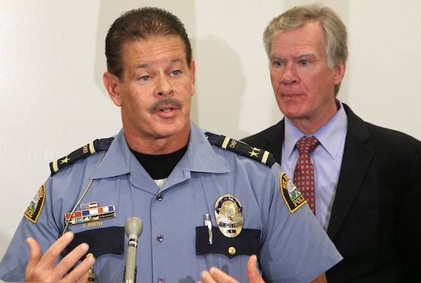 """St. Paul Police Chief Tom Smith, shown with Mayor Chris Coleman, said, """"There's no indication that there is going to be any type of trouble."""""""