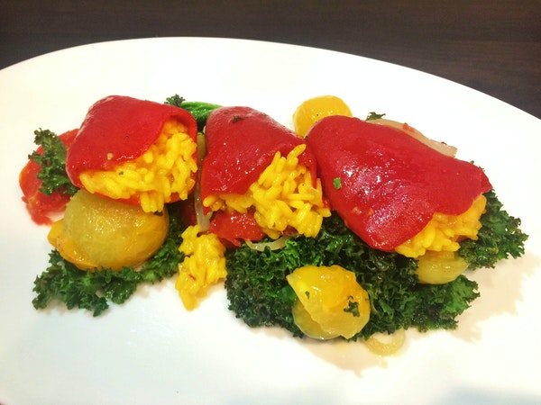 Piquillo Stuffed Peppers With Saffron Risotto, from Gavin Kaysen of Spoon and Stable.