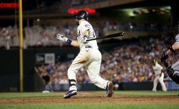 Trevor Plouffe doubled to bring home two runs in the seventh inning.
