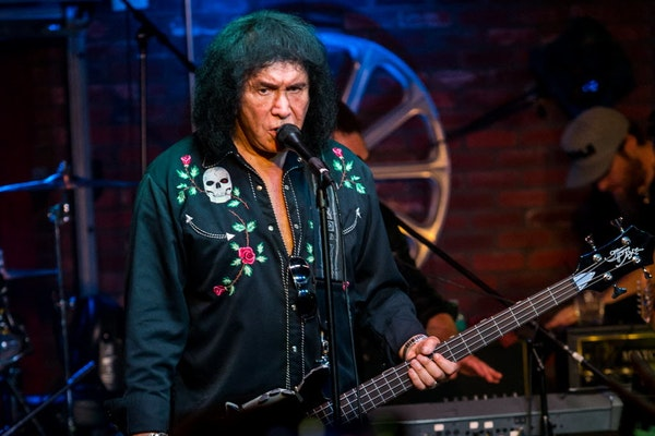 """In this Aug. 16, 2015, file photo, Gene Simmons performs during the """"Music On A Mission"""" benefit concert held at Lucky Strike Live - Hollywood in Los"""