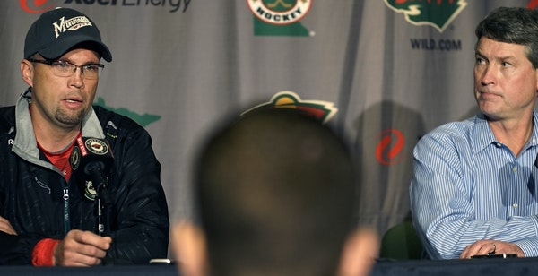 A media briefing Monday was part of ushering in the offseason for Wild coach Mike Yeo, left, and GM Chuck Fletcher. The general manager called the sti