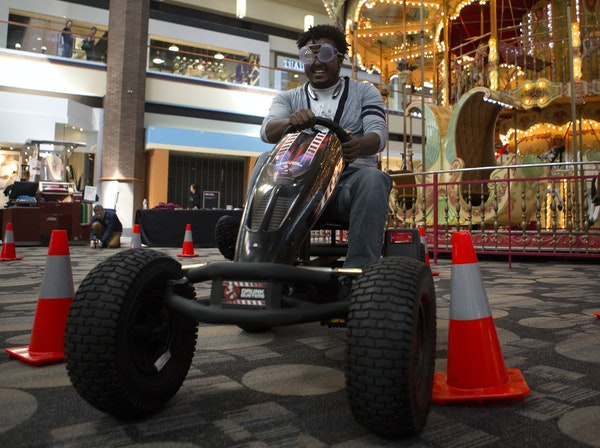 Lidetu Asele of Roseville drove a pedal cart with drunk-vision goggles. The simulation coincided with a drunken-driving awareness campaign.