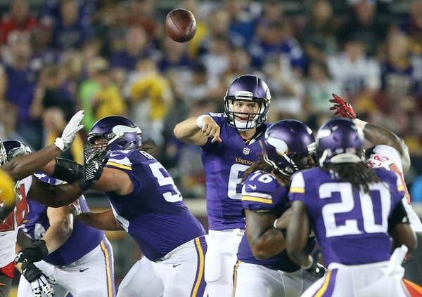 Vikings quarterback Taylor Heinicke threw a pass in a preseason game against Tampa Bay. Against Dallas on Saturday, Heinicke was 11-for-11 and led two