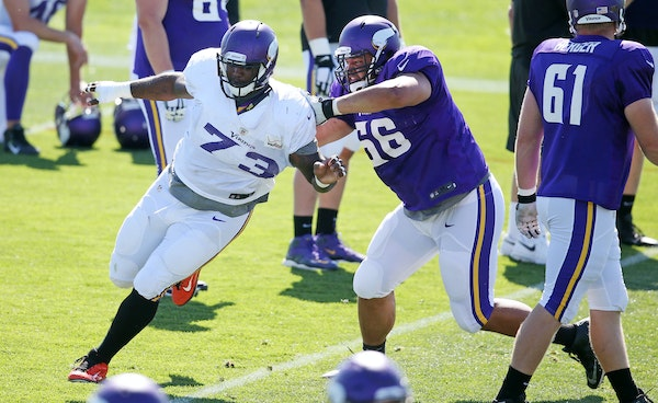 The more versatile, the better — second-year player David Yankey (66) has worked at every guard and tackle spot this summer for the Vikings.