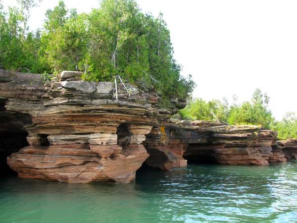 Limestone doesn't stand a chance against Superior's waves; sea caves dot the Apostle Islands off Bayfield, Wis.