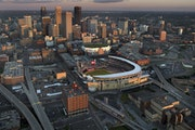 Target Field is situated in the shadow of the Minneapolis skyline.