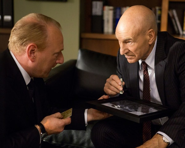 This photo provided by Starz Entertainment, LLC shows, Adrian Scarborough, left, as Harry, and Patrick Stewart as Walter Blunt, in a scene from season