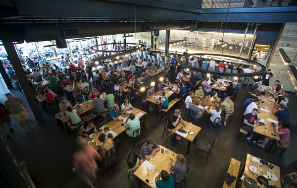 A typically busy day in the first-floor beer hall at Surly Brewing Co. in Minneapolis.