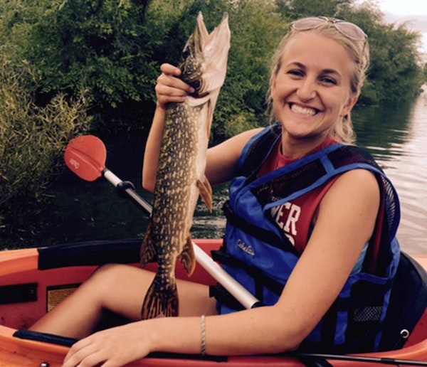 Emily Thedens with her northern pike.