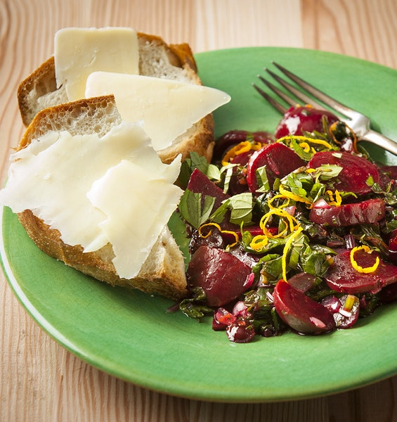 Beets and Beet Greens With Orange and Mint