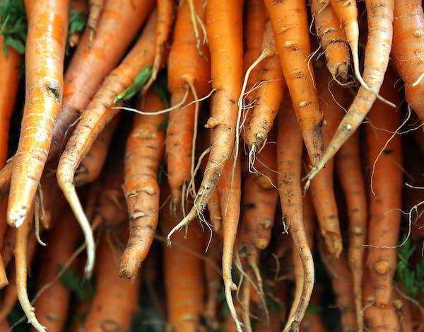 Carrots at a farmers market.
