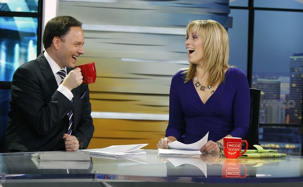 WCCO's morning show anchors Jason DeRusha and Jamie Yuccas shared a laugh before going on live, Tuesday, March 11, 2014 in Minneapolis.