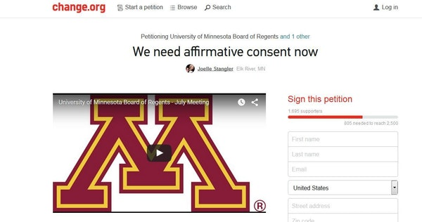 A student-driven online petition has garnered more than 1,600 signatures pressing for an affirmative consent policy to be in place at the University o