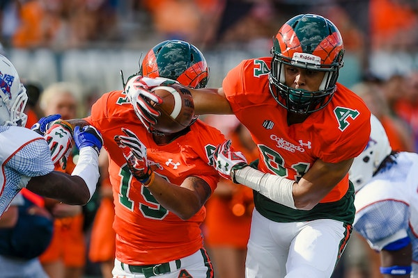 Colorado State's Olabisi Johnson, (81) dives into the end zone for a touchdown against Savannah State during an NCAA college football game, Saturday,
