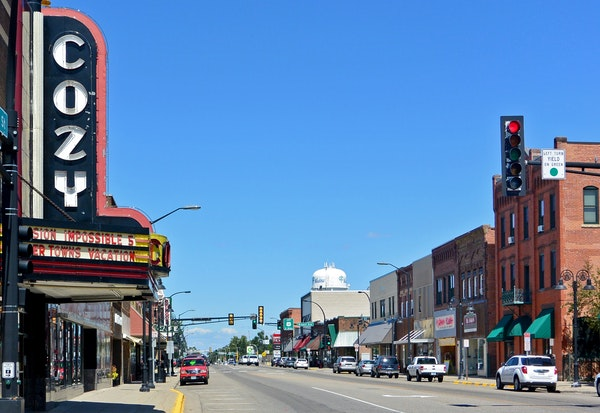 The Cozy Theater remains a major presence along Jefferson Street in Wadena.