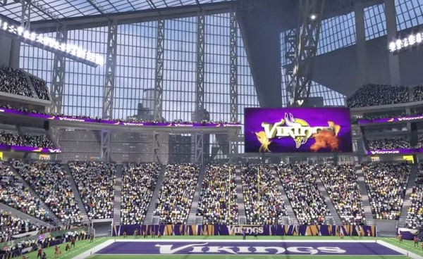 """""""Madden '16"""" offers a sneak peek at the not-yet-completed Vikings stadium in downtown Minneapolis."""