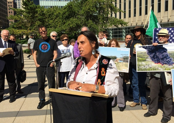 Winona LaDuke, founder of Honor the Earth, spoke at a news conference Thursday. Environmental groups sued the U.S. State Department for accepting a pl