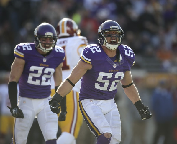 Linebacker Chad Greenway (52) is entering his 10th season with the Vikings.