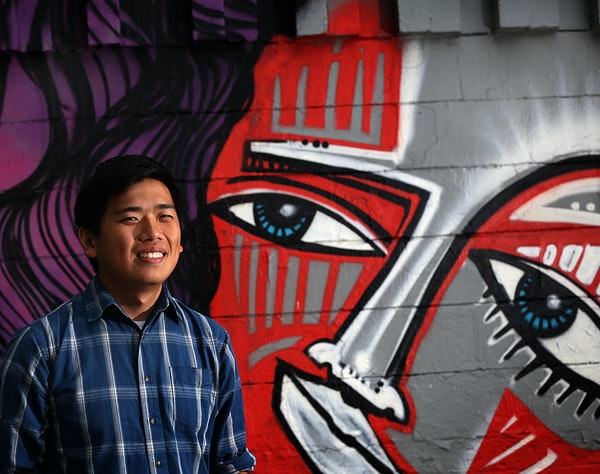 """Poet Kevin Yang works with young artists at Intermedia Arts in Minneapolis. """"The generation before us were explorers,"""" he said. """"We are creators."""" Wit"""