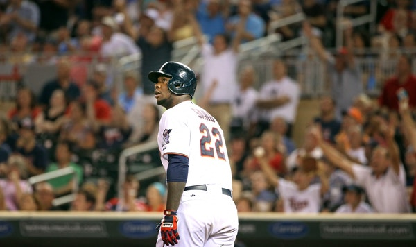 Minnesota Twins designated hitter Miguel Sano (22) watched his solo home runner in the seventh inning.