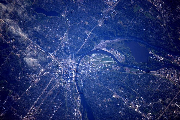 Astronaut Kjell Lindgren tweeted this image of St. Paul, taken from a few hundreds miles above, from the International Space Station.