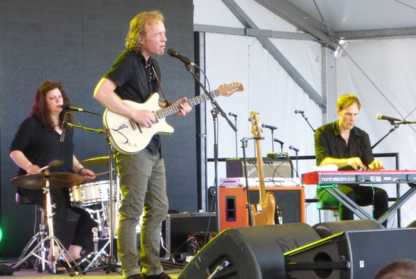 Low performed in July at the Eaux Claires music fest. From left, Mimi Parker, Alan Sparhawk and Steve Garrington.