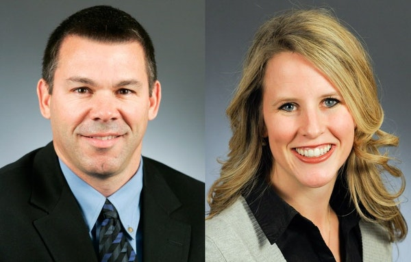 This combination of photos shows Rep. Tim Kelly, R-Red Wing, left, and Rep. Tara Mack, R-Apple Valley.