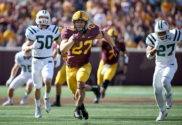 Minnesota's running back Shannon Brooks ran for 40 yards for a touchdown in the second quarter as the Gophers took on Ohio at TCF Bank Stadium, Saturd