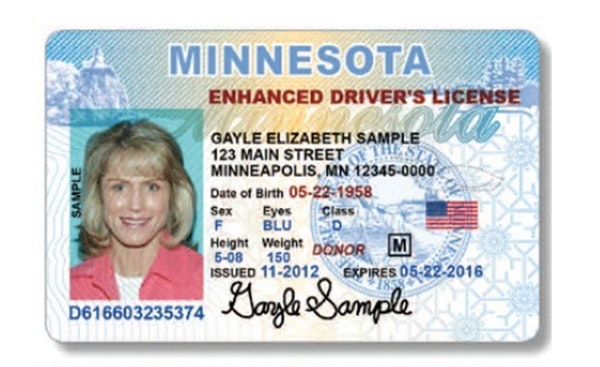 Minnesota sample driver's license, provided by the Minnesota Department of Public Safety.