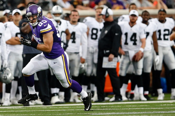 The Vikings' Rhett Ellison is a key special teams player and a hybrid offensive tool who has to know how to line up at four different positions: the X