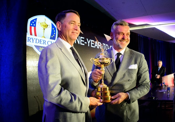 Ryder Cup captains Davis Love III and Darren Clarke spoke at a news conference on Tuesday at Hazeltine National Golf Club, which will be the host of t