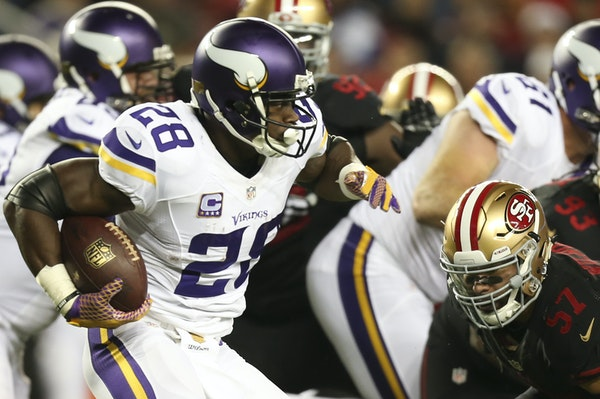 Vikings running back Adrian Peterson's 31 yards against the 49ers on Monday was one of the lowest single-game rushing totals of his career.