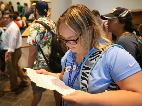 """""""I like college. I knew I would."""" Maggie Erickson, 24, of St. Paul and one of 12 students in Bethel University's inclusive learning program"""