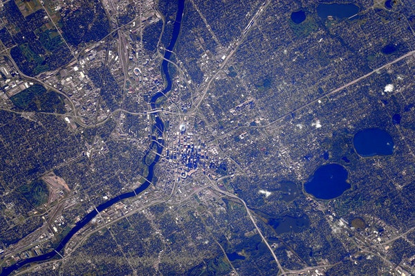 This shot of Minneapolis was captured Tuesday from the International Space Station as it flew about 200 miles from Earth.