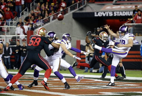 Vikings punter Jeff Locke punted from the end zone in the season opener against the 49ers last month.