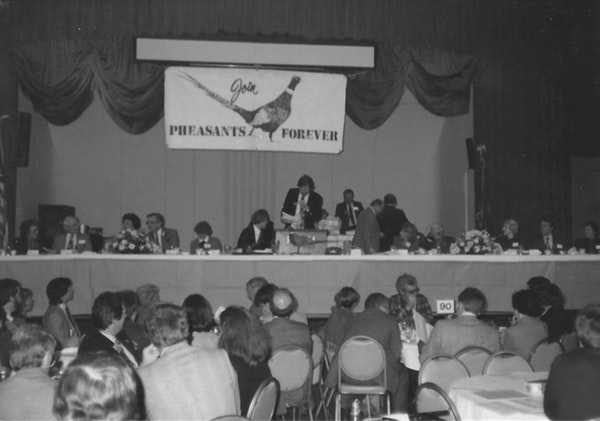 The first Pheasants Forever banquet on April 15, 1983, at the old Prom Ballroom on University Ave. in St. Paul drew 800 people, including Gov. Rudy Pe