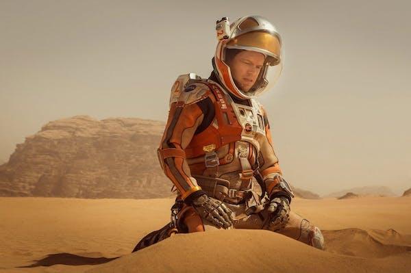"Matt Damon stars in ""The Martian,"" about an astronaut mistakenly abandoned on Mars."