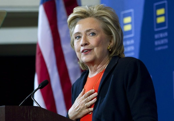 Democratic presidential candidate Hillary Rodham Clinton gestures as she speaks at Human Rights Campaign gathering in Washington on Oct. 3, 2015.