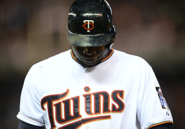 Twins designated hitter Miguel Sano looked down to the ground after flying out to left field in the bottom of the third inning Friday night in the Twi
